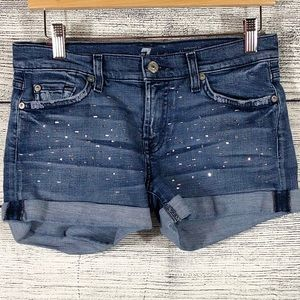 7 for All Mankind rolled embellished jean shorts